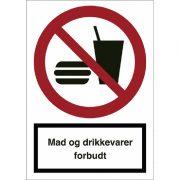 Mad og drikkevarer forbudt