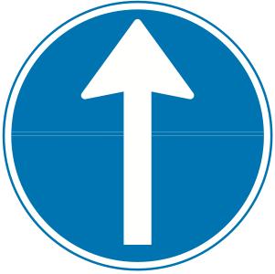 Påbudt kørselsretning frem - Kombi-Skilte