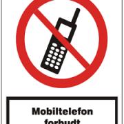 Mobiltelefon forbudt forbuds skilt