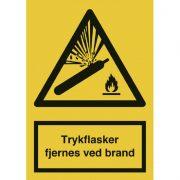 Trykflasker fjernes ved brand