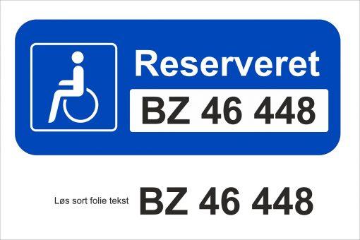 Handicapskilt m/udskifteligt reg. nr.