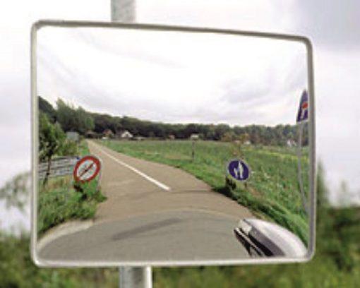 Trafikspejl rektangulært m/kant
